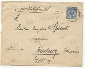 Germany Scott #49 on Cover to Kamerus P.M. 1896
