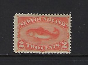 NEWFOUNDLAND SCOTT #48 1860-96 TWO CENTS (RED ORANGE) MINT HINGED