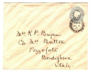 GB Wales Cover Bangor CDS Italy Bordighera 2½d QV Stationery 1907{samwells}ZB77