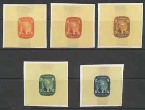 #67-E3g (5) DIFFERENT DIE I ESSAYS ON YELLOW PELURE -- UNIQUE -- GROUPING WL3757