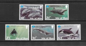 SHARK & WHALES - ISLE OF MAN #776-80   MNH
