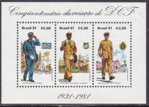Brazil 1981 Mail Man Souvenir Sheet of Three  F/VF/NH(**)