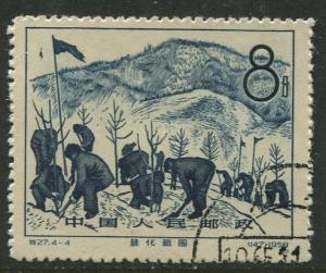 China - Scott 388 -Tree Planting -1958 - VFU- Single 8f stamp