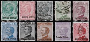 Eritrea Scott 35-44 (1908-28) Used/Mint H F-VF, CV $131.90