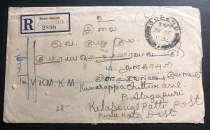 1933 Gopeng Malaya Straits Settlements Registered Cover To Kilasevalpatti India