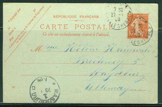 France H & G # 67, pse postal card, used, issued 1907