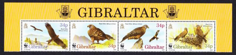 Gibraltar Birds WWF Red Kite Top strip of 4v with Territory Name SG#784-787