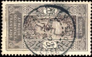 DAHOMEY - 1922 - CAD DOUBLE CERCLE ABOMEY / DAHOMEY ET DEPces SUR N°49