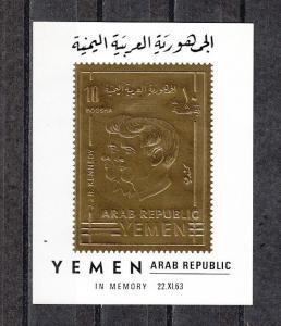 Yemen Arab Rep., Mi cat. 860, BL91. Kennedy Brothers, Gold Foil s/sheet.