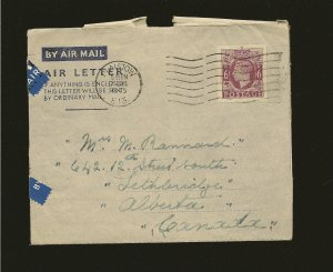 Great Britain PM Plaistow E13 1945 King George VI Airmail Cover to Canada Used