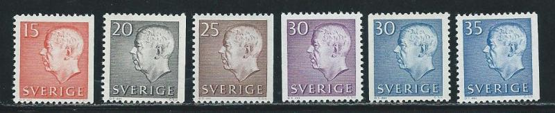 Sweden 581-6 1961-5 Gustaf VI part set MNH
