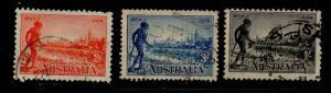 Australia Sc  142-4 1934 Yarra Yarra Tribesman stamp set used