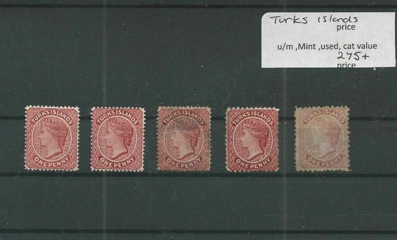 TRADE PRICE STAMPS EARLY TURKS ISLANDS MOUNTED MINT AND USED