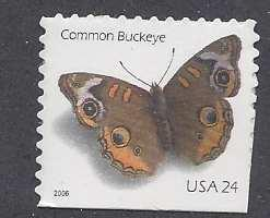 Catalog #4001a Common Buckeye Butterfly 24 cent Stamp from  Booklet pane of 20