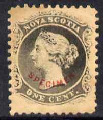 Nova Scotia 1863 QV 1c grey-black with SPECIMEN overprint...