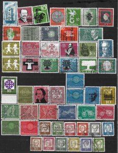COLLECTION LOT OF #565 GERMANY 52 STAMPS  1956+ CV=$24