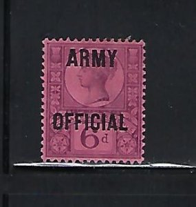 GREAT BRITAIN SCOTT #O61 1902 ARMY OFFICIALS OVPT. 6P (DULL VIOLET)  MINT HINGED
