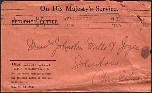 NEW ZEALAND 1919 Returned Letter ; Dead Letter Office cover ex Wellington..15920