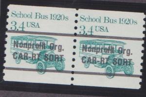 2123a School Bus F-VF MNH transportaion coil pair