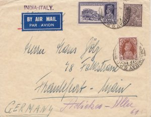 India 8a KGVI Mail Truck and 1/2a and 1a KGVI 1938 Bombay G.P.O. Airmail to F...