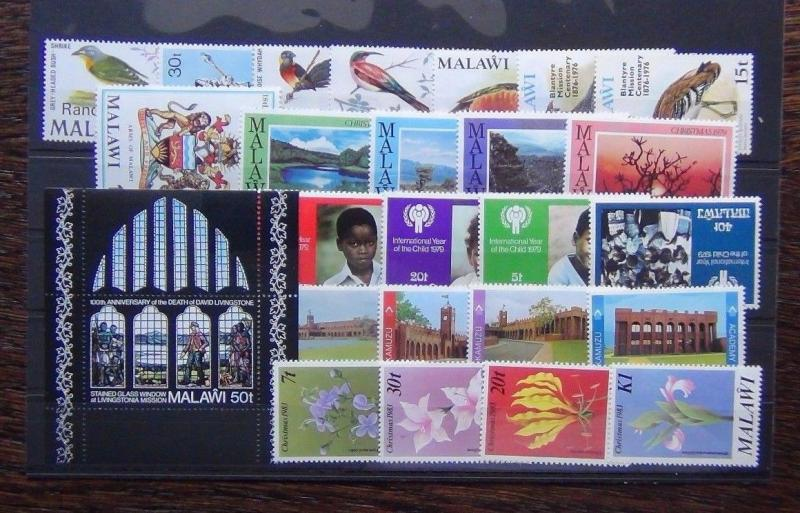 Malawi 1970 1983 sets Livingstone Parliament IYC Parks Police Flowers etc MNH