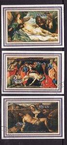 Niue-Sc#B38-40- id5-used semi-postal set-Easter-Paintings-1980-