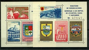 Colombia 1961 Atlantico Tourism Sheetlets sgMS1087+1089 cv£40+  UM Stamps