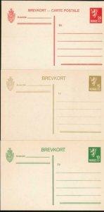 NORWAY Mi. P74-76 POSTAL STATIONERY POSTAL CARD (3) 1926 CARDS