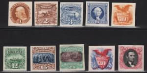 #112-122P4; #129P4 1869 COMPLETE SET PLATE PROOFS ON CARD XF CV $1,015 WL6148