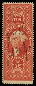 B307 U.S. Revenue Scott R89c $5 Conveyance, 1870 manuscript cancel