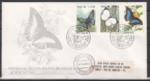 Brazil, Scott cat. 2048-2050. Butterflies issue on a First Day Cover.