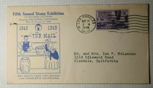 Stamp Exhibition Gene Autry Tub Mail Los Angeles CA Cachet Cover 1949