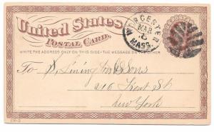 UX3 Postal Stationery Card 1c Liberty Worcester MA Leaf Fancy Cancel Bold Strike