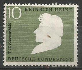 GERMANY, 1956, MNH 10pf, Heinrich Heine Scott 740