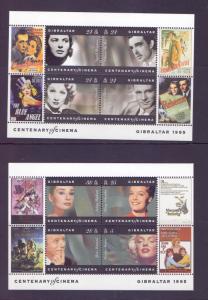 Gibraltar  #696-697 1995  MNH Cinema 2 sheets Monroe Schneider  Hepburn