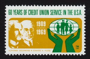 REKLAMEMARKE POSTER STAMP 60 YEARS OF CREDIT UNION SERVICE IN THE USA 1969