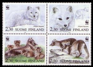 Finland WWF Arctic Fox 4v Block of 4 1993 MNH SG#1310-1313 MI#1202-1205