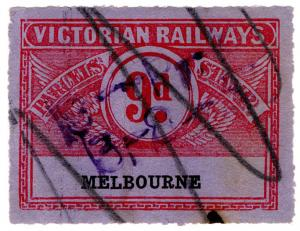 (I.B) Australia - Victoria Railways : Parcels Stamp 9d (Melbourne)