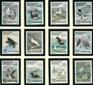 Greenland 1987-90 Indiginous Birds Sc #177 -188  Pristine! Cat $35++