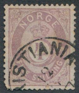 NORWAY 19 USED, LIGHT CDS CANCEL, 4 S LILAC