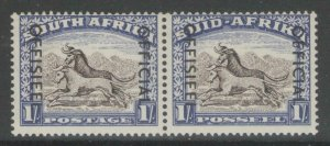 SOUTH AFRICA SGO47a 1953 1/= BLACKISH-BROWN & ULTRAMARINE MTD MINT
