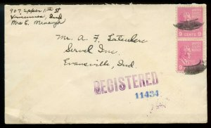 U.S. Scott 814 (2) Prexies on 1943 Indiana Registered First-Class Cover