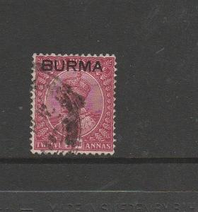 Burma 1937 12As Used SG 12