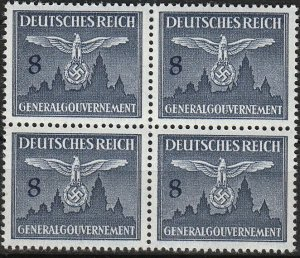 Stamp Germany Poland General Gov't Mi D26 Sc NO26 Block 1943 WW2 Official MNH