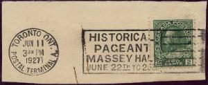 Canada - 1927 2c Green Admiral w. Toronto Massey Hall Slogan