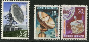 ICELAND Sc#547 INDONESIA Sc#776-7 1981 & 1969 Satellite Earth Station Cpl OG MNH