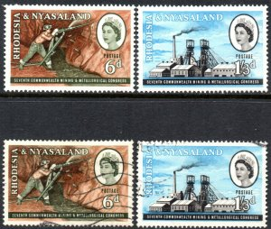 1961 Rhodesia & Nyasaland Sg 38/39 Mining Congress Mounted Mint/Fine Used