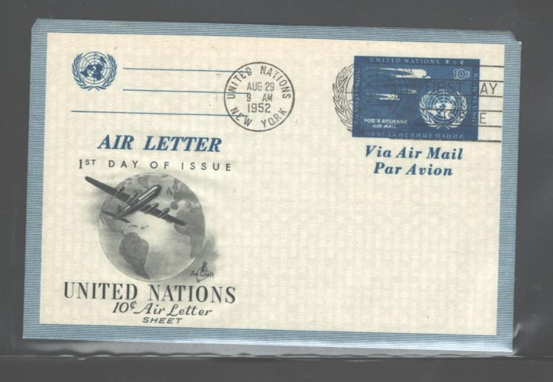 UNITED NATIONS, 29 Aug. 1952 AIR LETTER