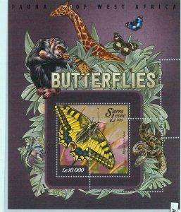A4718 - SIERRA LEONE - ERROR MISPERF: 2015 Butterflies, Snakes, Giraffes, Monkey