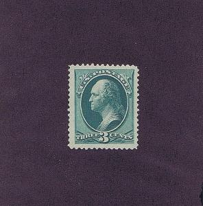 SC# 184 UNUSED ORIGINAL GUM MNH 3 CENT WASHINGTON, 1879, XF PSE CERT HIGH CV